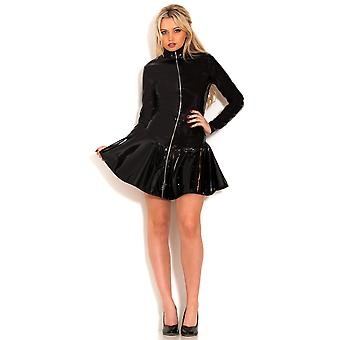 Honour Women's Sexy Dress in Shiny Black PVC Hot Chick Roleplay Outfit