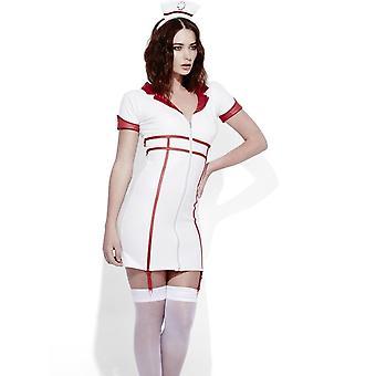 Fieber Rollenspiel Krankenschwester Wet Look Kostüm, UK 12-14