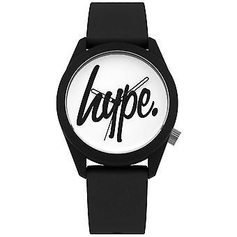 Hype | Zwarte siliconen band | Witte wijzerplaat | HYU001B horloge