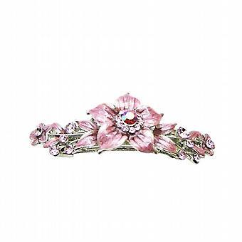 Asequible barato rosa cristales esmalte rosa flor pasador