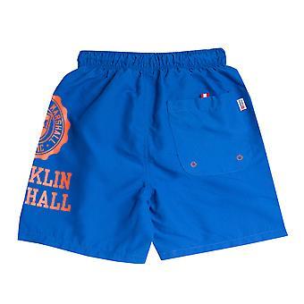 Junior Boys Franklin And Marshall Core Logo Swim Short In Blue- Ribbed