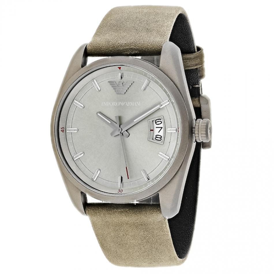 Emporio Armani Ar6079 Sportivo Analog Brown Leather Strap Men's Watch