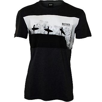 BOSS Surfing Print Crew-Neck T-Shirt, Charcoal