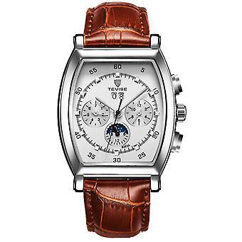 Mens homenagem retangular automático Watch prata branco marrom relógios data designer