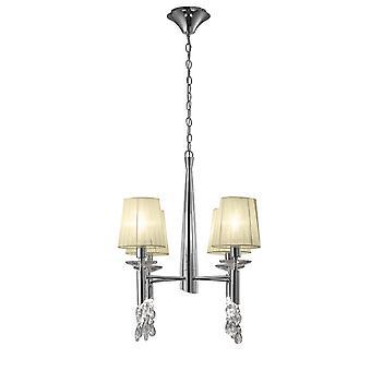 Mantra M3852 Tiffany pandantiv 4 + 4 Light E14 + G9, Lustruit Chrome cu crema nuante & Clear Crystal