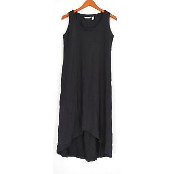 Isaac Mizrahi Live! Petite jurk XSP mouwloos Tulip hem zwart A301946
