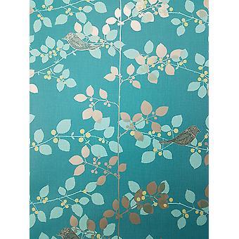 Rasch Tree Blossom Floral Wallpaper Blue Red Teal White Metallic Birds Branch