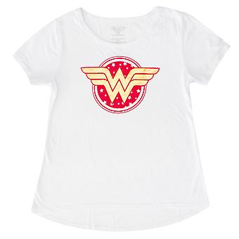 神奇女星标志青年女孩白色 t恤衫