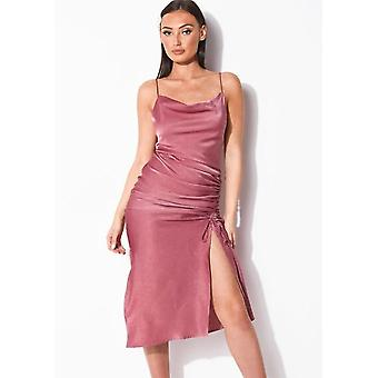Ruched Side Splits Cappuccio Collo Maxi Abito Rosa