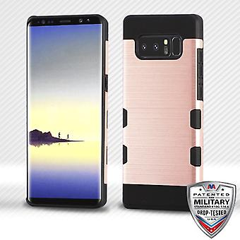 MYBAT Rose Gold/Black Brushed TUFF Trooper Hybrid Protector Cover for Galaxy Note 8