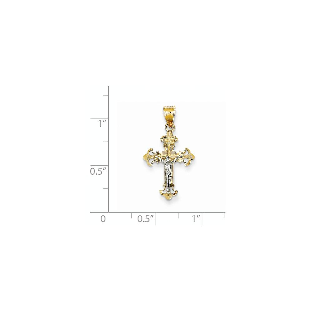 14K Two Tone Solid Polished Open back Sparkle Cut Textured back Gold INRI Crucifix Charm Pendant Necklace Measures 26x14