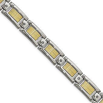 Acero inoxidable con 18k pulido con textura diamante pulsera de eslabones -.20 dwt - 9 pulgadas