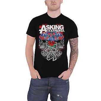 Pytając Alexandria T Shirt Flagdana Band Logo nowe Oficjalne Mens Black