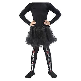 Girls Childrens Black Day of the Dead Tights Halloween Fancy Dress Accessory