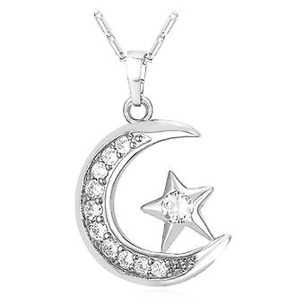 Semimoon and star Necklace-Silver