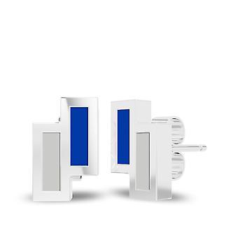 Universiteit van Kentucky Sterling Zilver Asymmetrische Email Stud Oorbellen in blauw en grijs