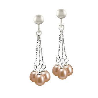 Eternal Collection Japonica Teardrop Pink FW Pearl Silver Tone Drop Screw Back Clip On Earrings
