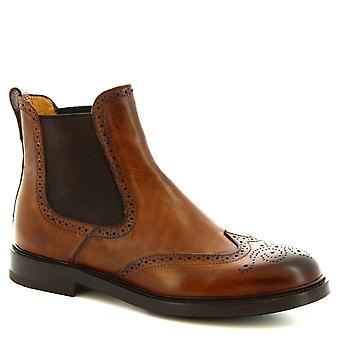 Leonardo Shoes Women's handmade brogues ankle boots in brandy calf leather