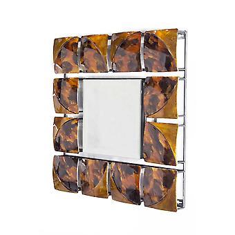 "17.5"" X 17.5"" X 1.75"" Espejo de pared colgante de vidrio metálico dorado"