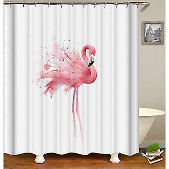 Single Flamingo Painting Shower Curtain