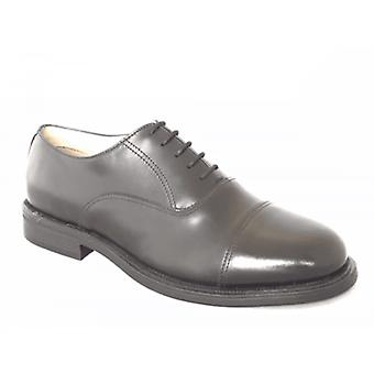 Grafters Morgan Xm620a Mens Cuir Oxford Chaussures Noir