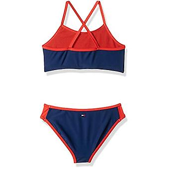 Tommy Hilfiger Big Girls' Two-Piece Swimsuit, Flag Blue, Small (7)
