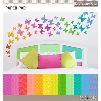 "K&Company Basics Single-Sided 12""X12"" Paper Pad 36/Pkg-Brights, 12 Designs/3 Each"