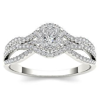 Igi certifierad 10k vitt guld 0,50 ct naturlig diamant halo förlovningsring