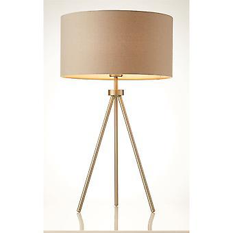 Endon Tri 1 Lichttafel lamp mat nikkel, grijs linnen effect 66986
