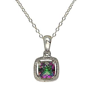 Ivy Gems-Pendant silver Sterling - special cut with green topaz - on 46cm chain