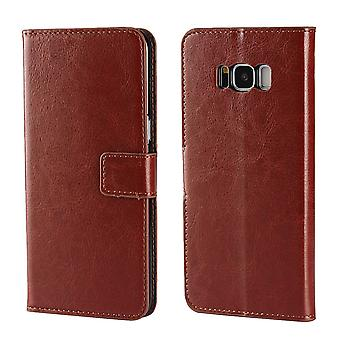 For Samsung Galaxy S8 Wallet Case,Modern Luxury Protective Leather Cover,Brown