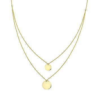 14k Yellow Gold 10m and 13m Disc Double Strand Bib Necklace 18 Inch Jewelry Gifts for Women