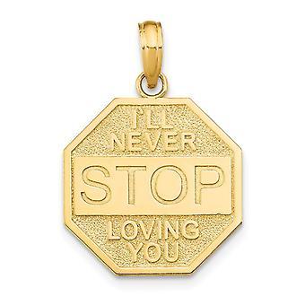 14k Guld Ill Aldrig Stop Loving You Octagon Plaque Charm - 1,6 Gram