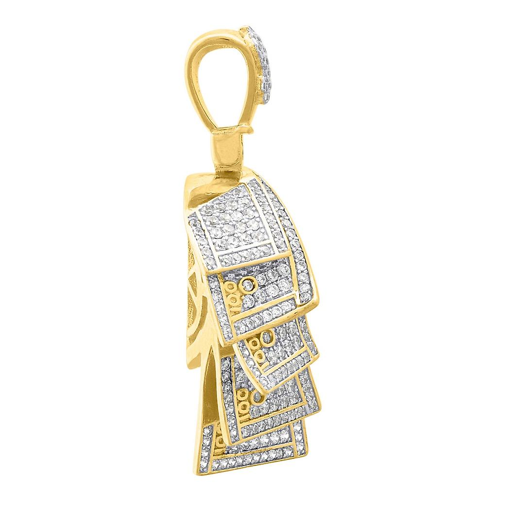 925 Sterling Silver Yellow tone Mens Round CZ Cubic Zirconia Simulated Diamond Money Roll Cluster Fashion Pendant Neckla