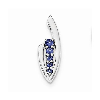 925 Sterling Silver Blue CZ Cubic Zirconia Simulated Diamond Slide Pendant Necklace Jewelry Gifts for Women