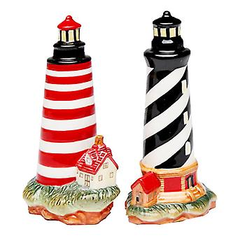 Black White and Red Lighthouse Salt and Pepper Shakers Set