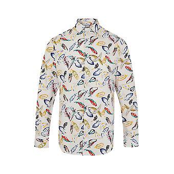 JSS Leaf Print White Regular Fit 100% Cotton Shirt
