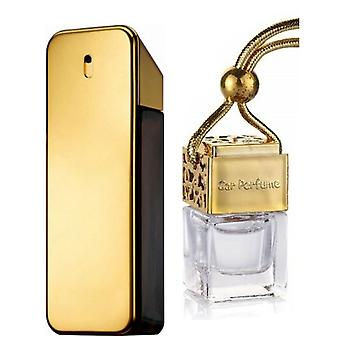 Paco Rabanne One Millione For Him Inspired Fragrance 8ml Gold Lid Bottle Hanging Car Vehicle Auto Air Freshener