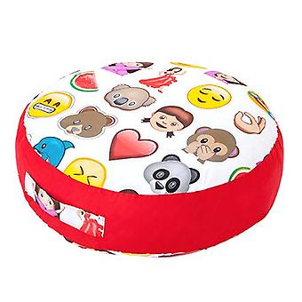 Ready Steady Bed Design Kids Giant Round Floor Cushion | Soft Play Child Safe | Toddler Playroom living room (Emoji Emoticons)