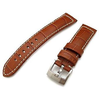 Strapcode crocodile grain watch strap 20mm, 23mm, 24mm crococalf (croco grain) matte borwn watch strap with beige st.