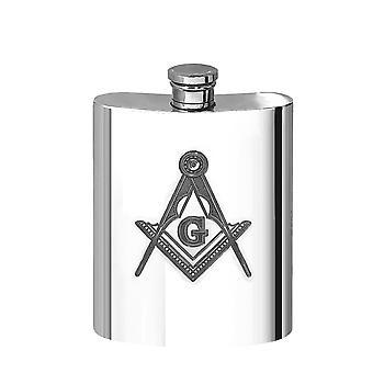 Masonic G Pewter Hip Flask - oz
