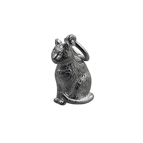 Silver 5x15mm hollow sitting Cat Pendant or Charm