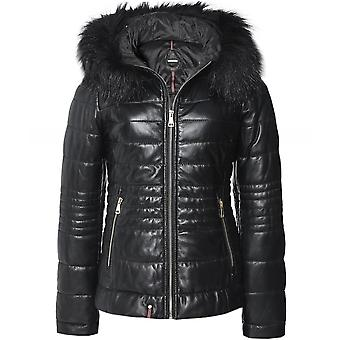 Oakwood Jella Faux Fur Trim Quilted Leather Jacket