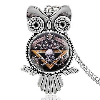 Owl skull & bones masonic necklace