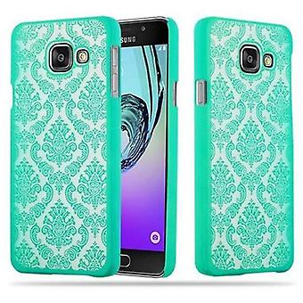 Samsung Galaxy A3 2016 Hardcase Case in GREEN by Cadorabo - Flowers Paisley Henna Design Protective Case - Pokrywa tylnej obudowy obudowy obudowy na telefon