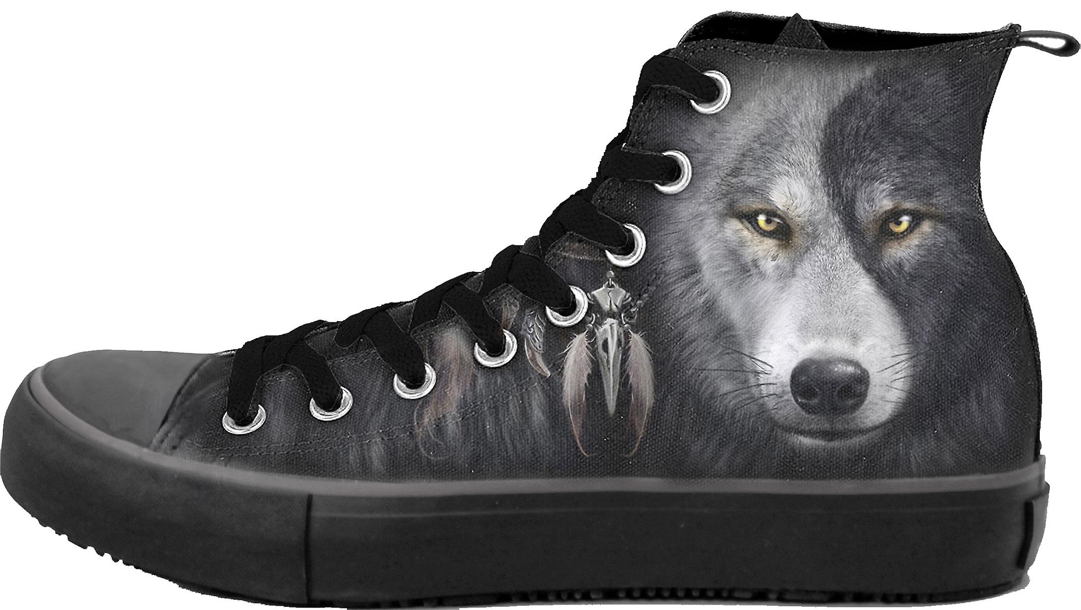 Spiral Direct Gothic WOLF CHI - Sneakers - Men's High Top Laceup|Wolf|Yin Yang|Native American|Mystical