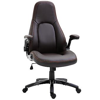 Vinsetto PU Leather Office Chair 360° Swivel Home Office Ergonomic Adjustable Height Coffee Contrast Stitching