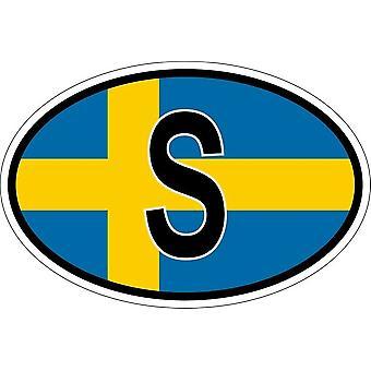 ملصقا بيضاوي االبيضاوي العلم رمز البلد S جلد الغزال
