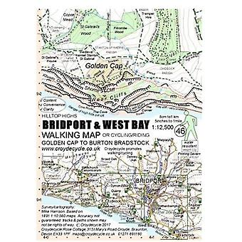 Bridport & West Bay Walking Map - Golden Cap to Burton Bradstock b