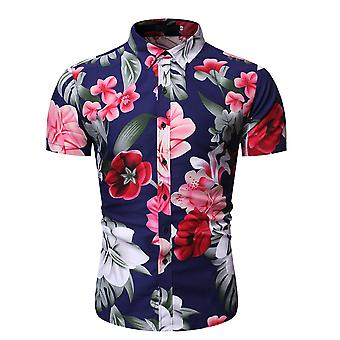 Allthemen Men's Youth Popular Lapel Floral Printed Short Shirt